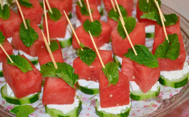 Bite Size Watermelon Salad on funyumandfrills.com